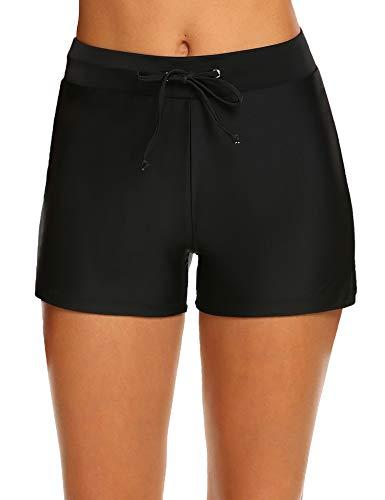 Hotouch Board Shorts Women's Waistband Swimsuit Bottom Boy Shorts Swimming Panty Black-S