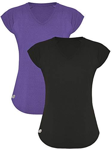 GO HEAVY Damen 2er-Pack Fitness Funktions Sport T-Shirt Laufshirt Kurzarm Schnelltrocknend | Schwarz/Mauve M