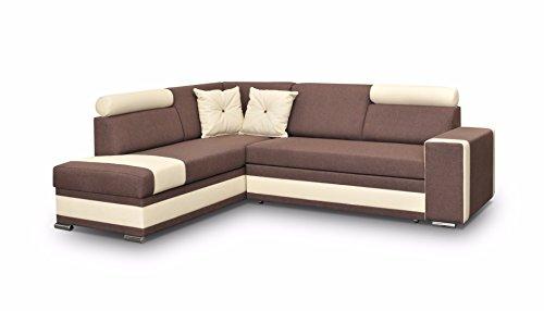 große Ecksofa Sofa Eckcouch Couch mit Schlaffunktion und Bettkasten Ottomane L-Form Schlafsofa Bettsofa Polstergarnitur - JACKSON (Ecksofa Links, Braun)