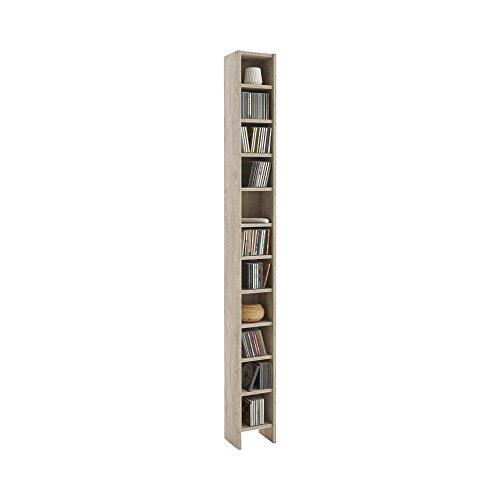 13Casa FMD Moebel 210-002 Hallo 2 Range CD/DVD Bois Chêne Sable 19,5 x 16,5 x 185 cm