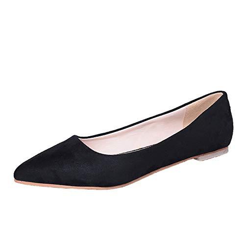 Damen Geschlossene Ballerinas Wildleder Spitz Flache Schuhe, Frauen Elegante Mokassins Weich Bequeme Loafers Casual Slip-Ons Schöner Damenschuhe Celucke (Schwarz, 39 EU)