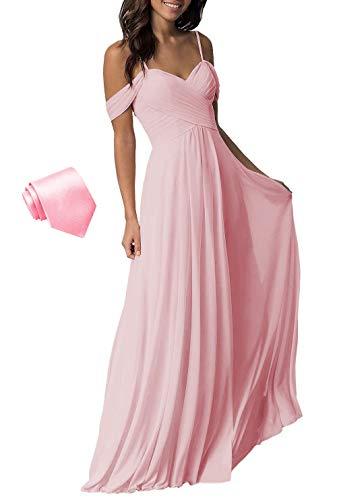 Vestidos largos de gasa plisados con hombros descubiertos para mujer, vestidos de boda para dama de honor, B005, Formal, 6