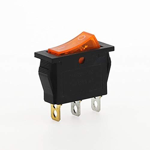 CROSYO 4pcs Rocker Switch On-Off 2 Posición 3 Pin Equipo eléctrico con Interruptor de alimentación Ligera 16A 250VAC / 20A 125VAC (Color : Amarillo)