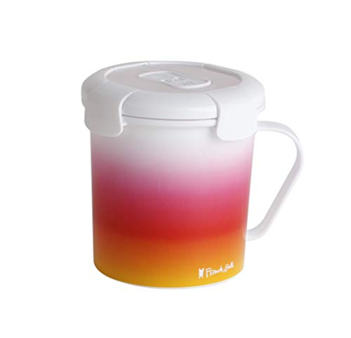 French Bull 23 oz Soup Mug With Handle and Vented Lid Food Storage-Cool Grip Leak Proof Dishwasher and Microwave Safe Lunch Travel Airtight, Pink Ombre