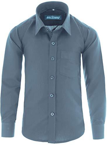 GILLSONZ A1vDa Kinder Party Hemd Freizeit Hemd bügelleicht Lange Arm mit 9 Farben Gr.86-170 (98/104, Grau)