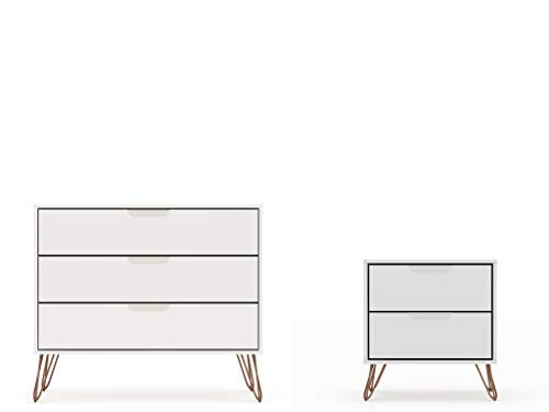 Manhattan Comfort Rockefeller Mid-Century Modern 3 Drawer Bedroom Dresser with Nightstand, Set of 2, White