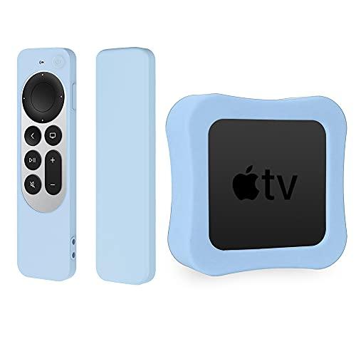 AiMok Funda Protectora de Silicona Compatible con Apple TV 4K 2021, Generación Siri Mandos a Distancia Cover Anti-Rayones Antideslizante para Apple TV 4K - Azul