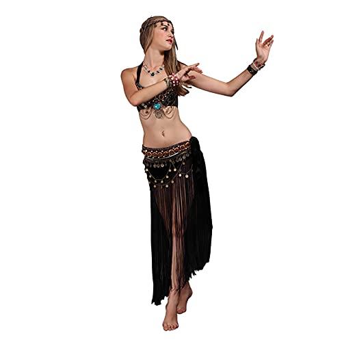 GW Falda Danza del Vientre Mujer Falda Larga Seda Falda Disfraz Traje de Danza del Vientre Mujer práctica Rendimiento Vestido,Negro,C/L