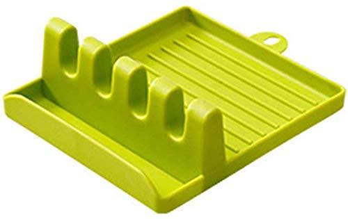 Sopa Cuchara Cuchara Estante de Almacenamiento Cocina Cuchara de Almacenamiento Estantes de Cocina Soporte PP Pot Holder Organizador Verde-Verde