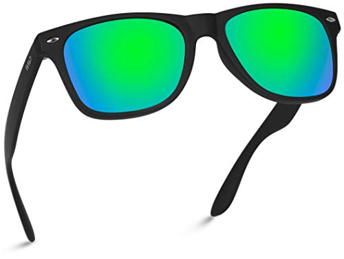Polarized Flat Mirrored Reflective Revo Color Lens Large Horn Rimmed Style Sunglasses (Mirrored Green)