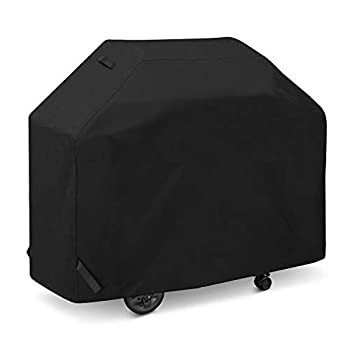 SunPatio Grill Cover 50 Inch Outdoor Heavy Duty Waterproof Barbecue Gas Grill Cover UV and Fade Resistant All Weather Protection for Weber Char-Broil Dyna-Glo Nexgrill Grills and More Black