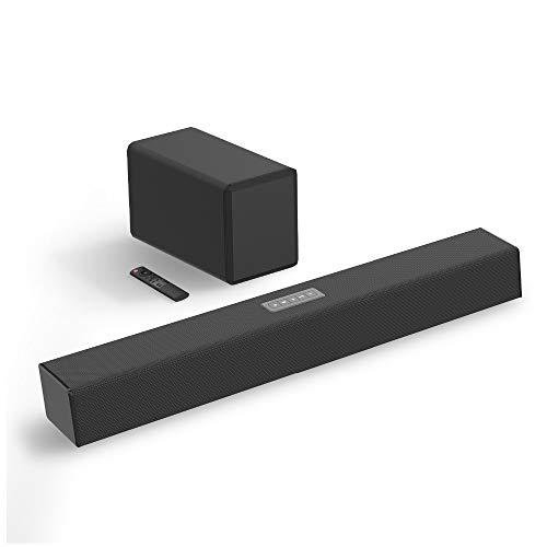 YQQWN TV Barra de Sonido, de 2.1 Canales de Sonido de Bar, 100W Barra de Sonido con subwoofer inalámbrico, 27 Pulgadas inalámbrico Bluetooth 5.0, Ajuste de Bas Mejorada, óptico/coaxial/Aux/USB