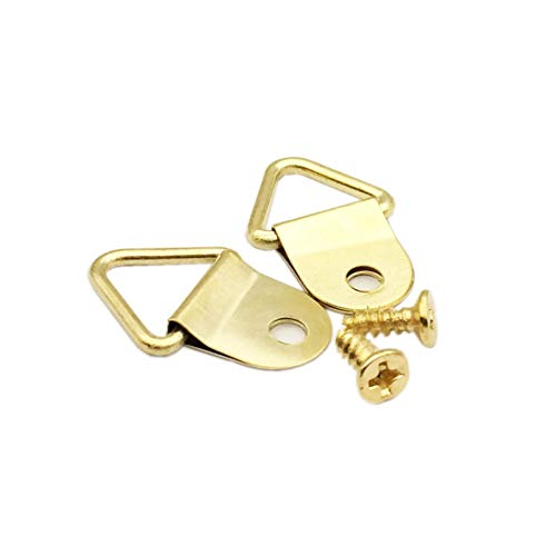 Mejor 100 Pack Small Triangle Ring Steel Picture Hangers with Screws Picture Frames Picture Hang Solutions, for Hanging Clock Paintings Artwork Picture Frame Hook Photos(Gold) crítica 2020
