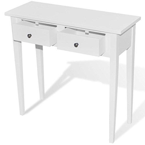 consolle ingresso bianco vidaXL Tavolo Consolle da Trucco con 2 Cassetti Bianco Tavolino da Salotto