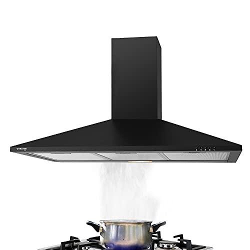 Gasland Chef PR90BP 90cm Abnehmbarer Filter Wandmontage, 350m³/h Schwarz Abzugshaube, LED LED-Beleuchtung/ 65 Watt Motorleistung/ 3 Stück