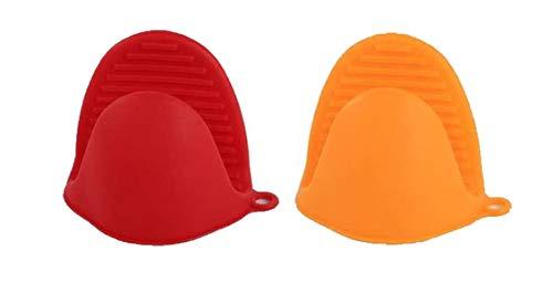 Guantes de mano para horno, paquete de 2 empuñaduras de silicona para cocinar, agarradera, protector de dedos, soporte para ollas con 2 peladores de naranja para cocina, hornear y barbacoa by RuiChy