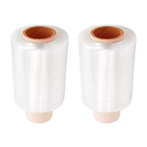 FHYT 2pcs Mini Film transparente para embalar Paquete Stretch Wrap Rolls Clear Cajas de Embalaje de Paquetes Wrap Cling Film String Rolls Paquete de Embalaje rápido y Resistente Película 10cm*150m