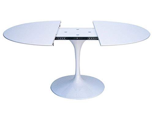 Tulip Eero Saarinen - Mesa extensible de 120 cm de diámetro, laminada líquida blanca con base blanca