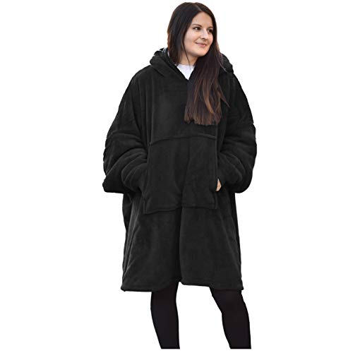 HOMELEVEL Sherpa - Sudadera con capucha XL para hombre y mujer Negro Talla única