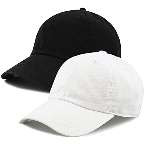 lowercase Combo of White and Black Baseball Cap for Summer Season for Men and Women with Adjustable Strap, Perfect for Running, Workouts and Outdoor Activities (Pack of 2, Black + White)