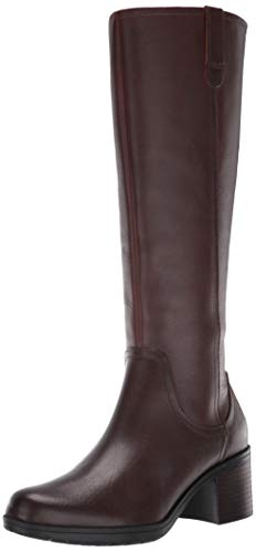 Clarks Women's Hollis Moon Knee High Boot, Mahogany Leather, 85 M US