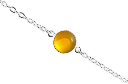 La Plata 925 Plateó la Pulsera de Cadena de 14cm Ronda Minimalista 10mm Cristal Topacio Amarillo de Cristal checo de Piedra hechos a Mano BohemStyle