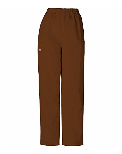 CHEROKEE Women's Workwear Elastic Waist Cargo Scrubs Pant, Chocolate, Small