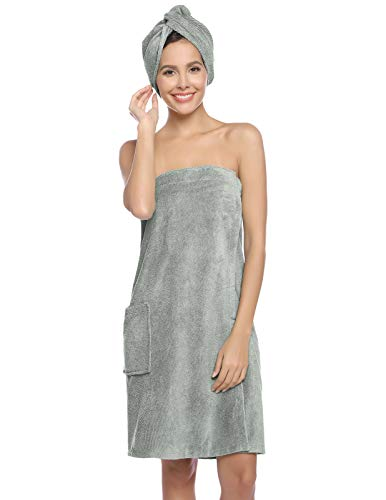 Zexxxy Women's Towel Wrap Bamboo Cotton Bath Wraps with Adjustable Closure Towel Dress Gym and Shower Robes Light Grey XS