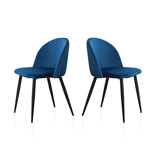 TUKAILAI - 2 sillas de Comedor tapizadas de Terciopelo Suave