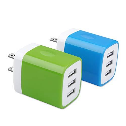 Charging Block, USB Plug, Hootek 3.1A 2Pack Muti Port USB Charger Cube Box Power Adapter Charging Brick Compatible iPhone 11 Pro XS Max X 8 7 6 Plus, Samsung Galaxy S20 FE 5G S10e S10 S9 S8 Plus, Moto
