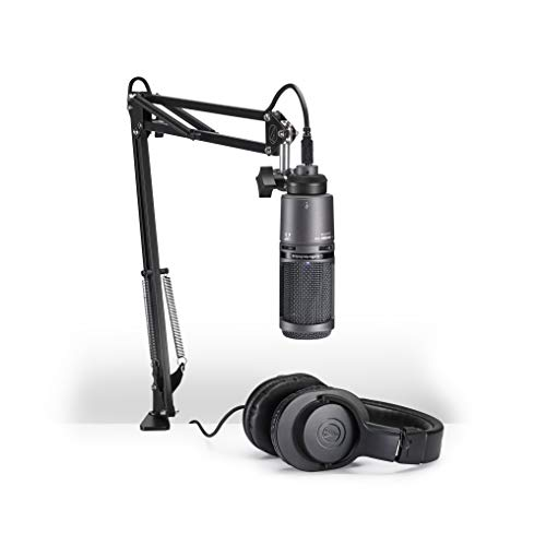 Audio-Technica AT2020USB+PK Vocal Microphone Pack for Streaming/Podcasting, Includes USB Mic w/Built-In Headphone Jack & Volume Control, Boom Arm, & Headphones