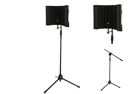 LyxPro VRI-30 Vocal Absorbing and Recording Microphone Isolation Shield Panel with Strong Durable Adjustable TMS-1 Microphone Stand Boom Arm For Home Office and Studio Portable & Foldable Stand Mount