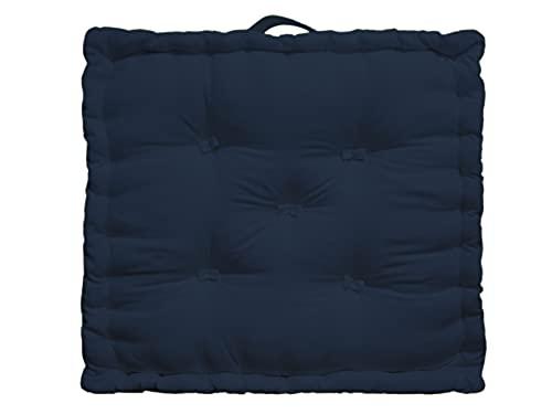 Tiny Break - 100% algodón - Cojín grande para suelo - Interior - Jardín - Silla de comedor - Cojín de asiento - 50 x 50 x 10 cm cuadrado - Azul marino