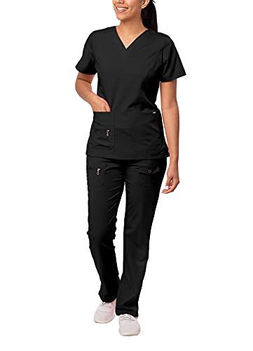 Adar Pro Breakthrough Plus Scrub Set for Women - Enhanced V-Neck Top & Multi Pocket Pants - 4400 - Black - M