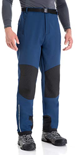 Clothin Men's Fleece-Lined Soft Shell Winter Pants - Ski Snow Insulated, Water and Wind-Resistant(Blue,S)