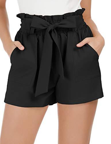 GRACE KARIN Women's High Waist Casual Frill Bowknot Shorts L Black