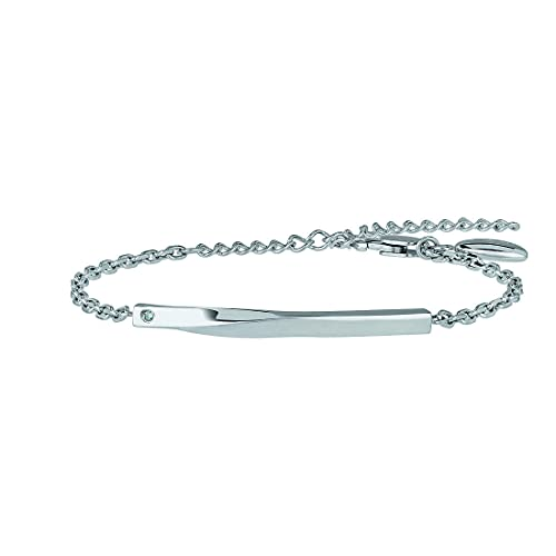 Joya Breil colección B Essential, pulsera de mujer de acero color plateado, medida 21 cm con cristal Jewelry, cód. TJ3007
