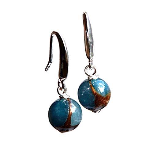 10mm Blau-Brauner Verrückter Achat Massives Sterling Silber 925 Ohrringe