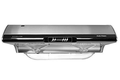 Hauslane | Chef Series Range Hood C190 30' Slim Under Cabinet Kitchen Extractor | Modern Stainless Steel Electric Range Hood | 3 Speed Exhaust Fan, Incandescent Lights | 3-Way Venting Option