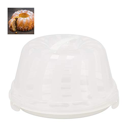 Relaxdays Kuchenbox, rund, Henkel, Gugelhupf, Kuchen & Torten, Muffin Transportbox, HxD 15,5 x 28,5cm, weiß/transparent