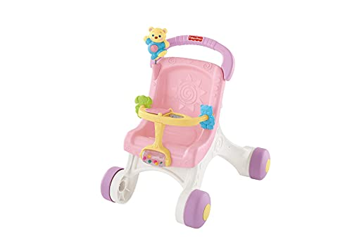 Fisher-Price Correpasillos con forma de silla de paseo con muñeca de peluche, juguete para bebés +1 año (Mattel HBB69)