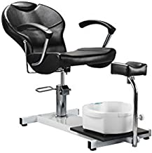 Danyel Beauty Pedicure Spa Station Chair with Foot Massage Basin Chair Salon Equipment (Black)