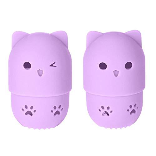 Aardich Estuche de Viaje Protector Portable de la Belleza del Maquillaje Esponja Blender Funda de Silicona con la Forma Linda del Gato Reutilizable Lavable para Home Hotel Holder Tendedero púrpura