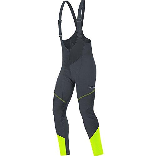 GORE Wear Salopette antivento da ciclismo per uomo, Con fondello, C3 GORE WINDSTOPPER Bib Tights+, M, Nero/Giallo neon, 100337