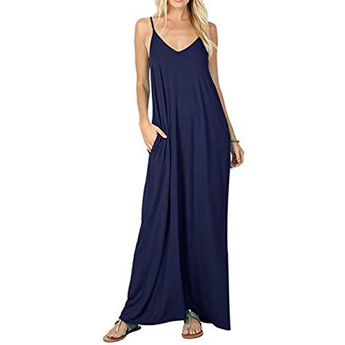 Seii Camisole klänning ärmlös v-ringad kvinnlig fickkjol ledig enfärgad V-hals ärmlös lång ficka linne klänning topp rea