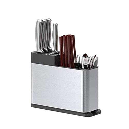Keukenwerktuig Holder Messenblok met aanrechtblad, gereedschap Caddy for messen, vorken, lepels, 430 roestvrij staal, zilver (Kleur: A) ZHW345 (Color : A)