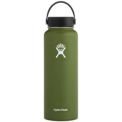 Hydro Flask Water Bottle - Stainless Steel & Vacuum Insulated - Wide Mouth with Leak Proof Flex Cap - Old Style Design - 40 oz, Olive