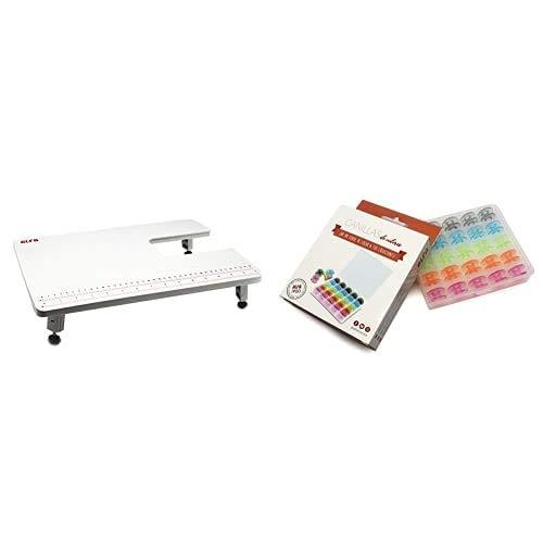 Alfa Mesa De Extensión para Máquina De Coser, Blanco, 28.5X40.5X3 Cm + 6050-Caja 25 Canillas Colores, Multicolor, 0 🔥
