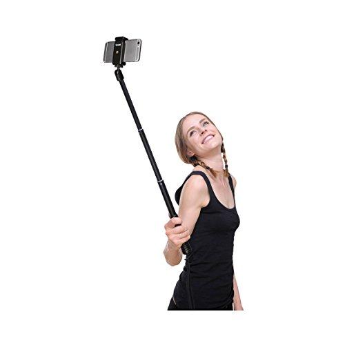Rollei Selfie Stick 4 Traveler - ausziehbarer Selfie Stick (Monopod) für Smartphones und Kameras bis 500g, Bluetooth Verbindung bis 10m, inkl. Smartphone-Halter - Schwarz