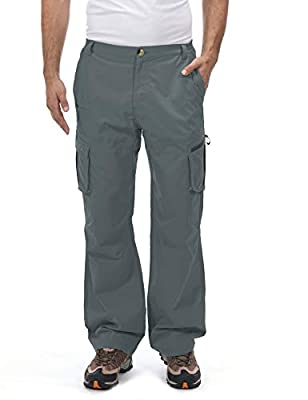 Little Donkey Andy Men's Quick Dry UPF 50+ Cargo Pants, Stretch Lightweight Outdoor Hiking Pants Steel Gray M